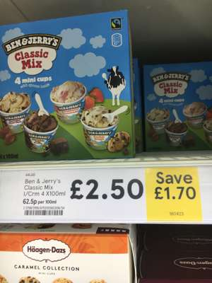 Ben & Jerry's Classic Mix - 4 Mini Cups £2.50 @ Tesco