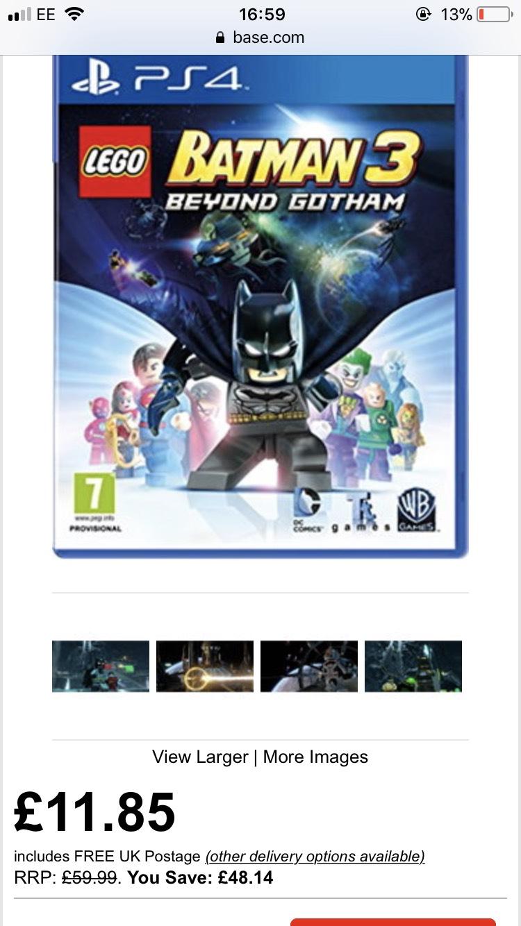 PS4 Lego Batman 3 £11.85 @ Base