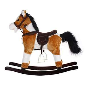 FoxHunter New Light Brown and White Children Rocking Horse With Gallop Sound and Cowboy Song Small Size 74cm(L) x 28cm(W) x 68cm(H) Seat Height 45cm Great Traditional Vintage Kids Toy