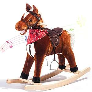 Kids Plush Rocking Horse Rocking Horse with Sound Rocking toys for Kids Handle Grip Traditional Toy Fun Gift,LIFE CARVER (brown)