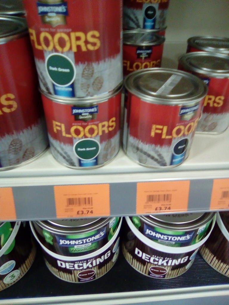 Johnstone's floor paint ,dark green or black £3.74 was £14.99 @ The Range