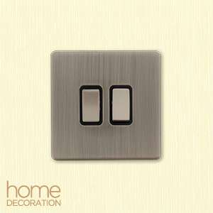 Home Bargains Brushed chrome light switches single £2.99 & double £3.49