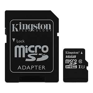 Kingston 16GB Class 10 Micro SD Card (With Adapter) £5.71 @ Amazon (Add-on)