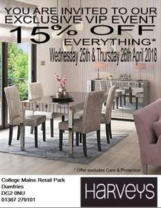 15% off at Harveys Furniture (Dumfries) 25th - 26th April 2018