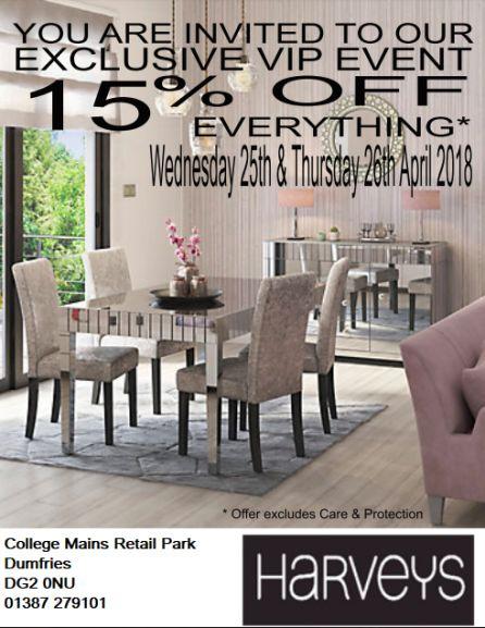 15% off at Harveys Furniture (Dumfries) 25th - 26th April 2018