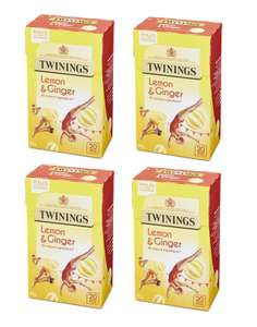 TWININGS Lemon & Ginger (4 Boxes of 20 Tea Bags) only £2.93 at Amazon.co.uk [Add-on Item]