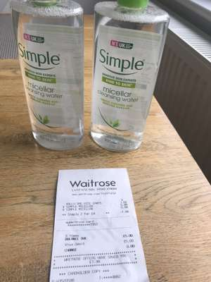 2 for £4 on Simple Kind to Skin range @ Waitrose