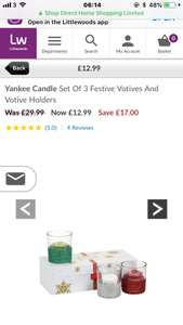 Yankee Candle Set Of 3 Festive Votives And Votive Holders £12.99 at littlewoods + free click and collect delivery