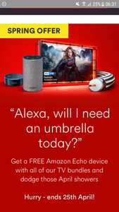 Free amazon echo device with full house bundle or £90 bill credit at Virgin Media