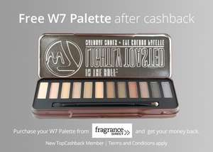 Free W7 Eye Shadow Palette from Fragrance Direct _ Topcashback ( only for new members )