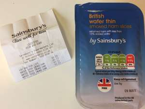 Sainsbury's 70g Wafer Thin Ham priced 13p (Leicester city centre)