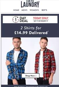 2 shirts for £14.99 delivered @ Tokyo laundry