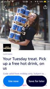 Free hot drink from caffe NERO with o2 Priorty