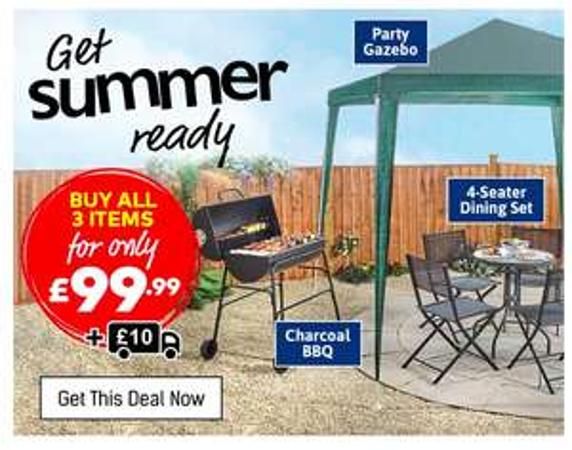 Budget friendly BBQ, 4 seater dining set + Gazebo £110 delivered @ Studio