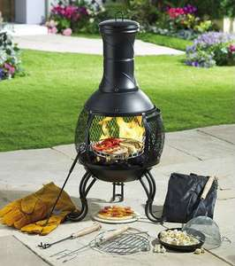 10 Piece steel Chiminea - Great for heat or cooking (Pizza stone, cooking grill, Popcorn lid, all included) Also comes with cover to protect from rain £69.99 delivered @ Studio