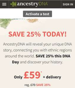 25% off Ancestry DNA Was £79 Now £59