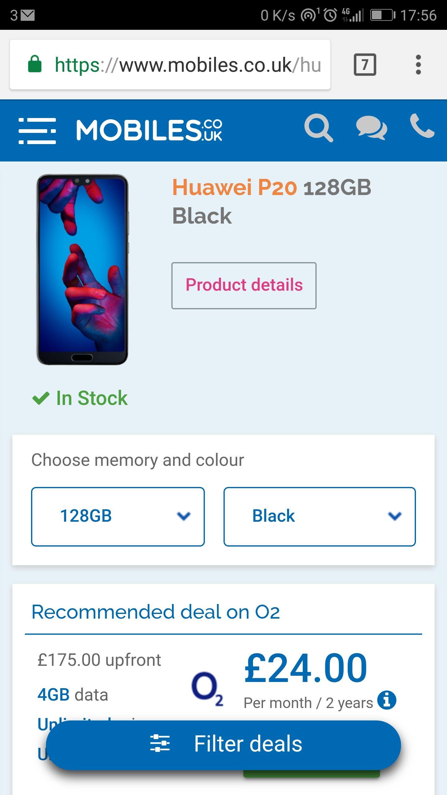 Huawei P20 128GB Black Sim Free £579.00 mobiles.co.uk