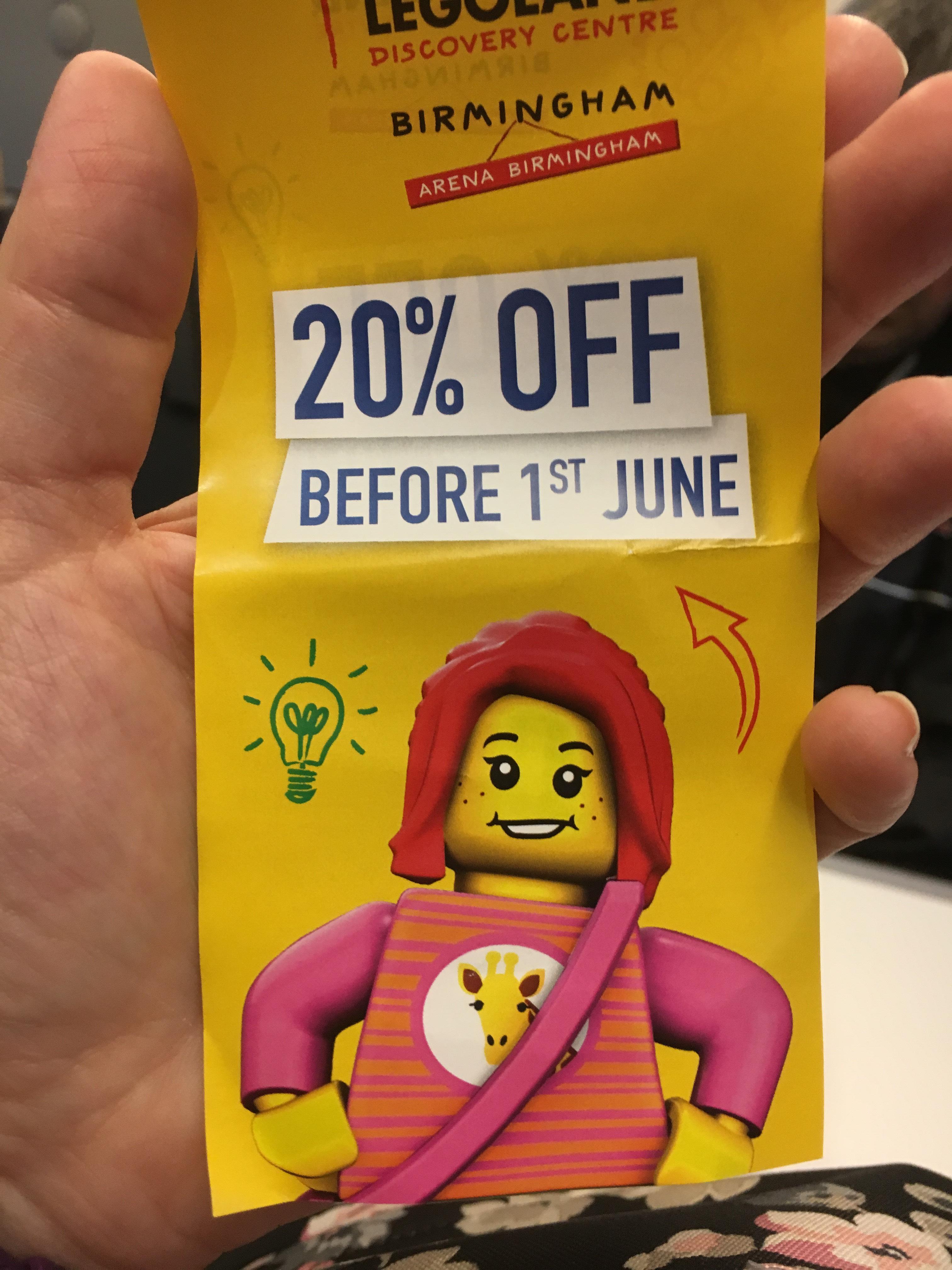 20% off Legoland Birmingham till June 1st