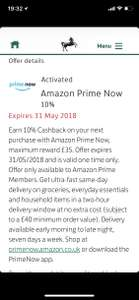 10% cashback on Amazon Prime Now (£40 minimum spend) @ Lloyd's Bank Everyday Offers