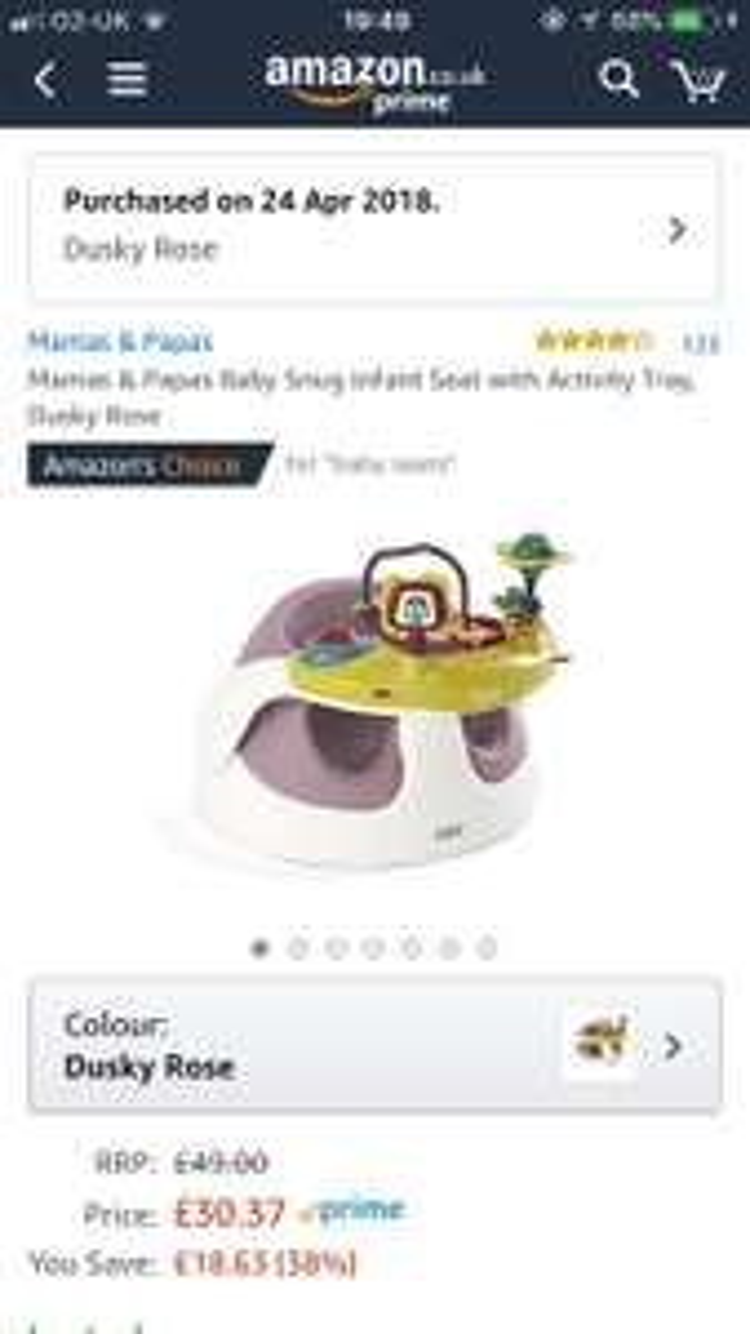 Mamas & Papas Baby Snug Infant Seat with Activity Tray, Dusky Rose £30.37 @ Amazon