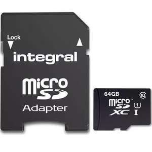 Integral 64GB Ultima PRO Micro SD Card (SDXC) + Adapter - 90MB/s £15.16 using code VC5 with 5 Years Warranty and Free Delivery @ MyMemory