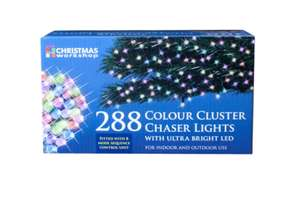 The Christmas Workshop 288 LED Chaser Cluster String Lights, Multi-Coloured amazon warehouse £4.72