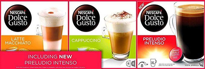 Nescafé Dolce Gusto - Cappucino + Latte Macchiato + Preludio Intenso -  £9.20 on Prime /  £13.95 non prime @ Amazon