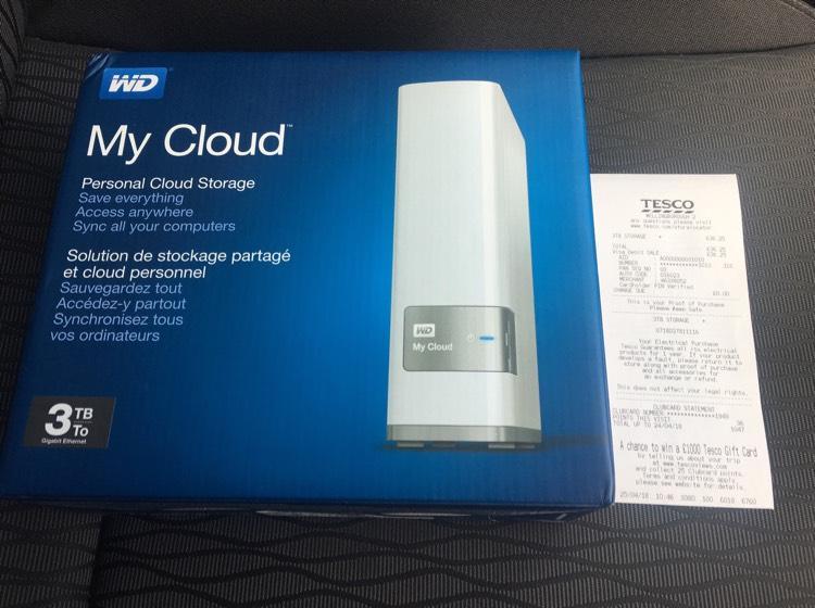 WD My Cloud 3TB Personal Cloud Storage - Hard Drive £36.25 instore @ Tesco - RRP £140.05