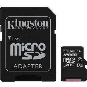 Kingston 128GB Canvas Select micro SD Card (SDXC) + SD Adapter - 80MB/s - £23.74 at MyMemory