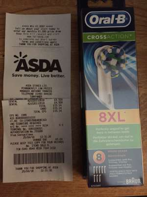 Oral B Crossaction heads - Pack of 8 - only £4.50 at Asda