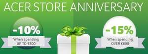 Acer Store Anniversary - 10% off up to £800 / 15% off over £800 spend