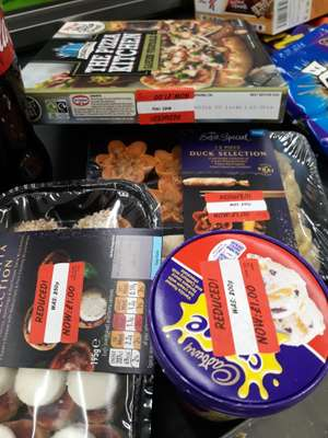 Asda reduced frozen items       •duck selection •Chicago town pizza •cream egg ice cream all £1.00