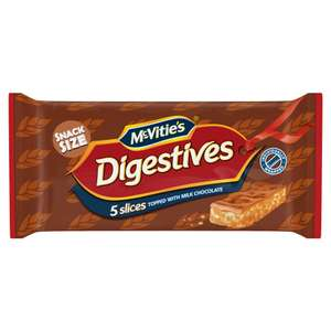 McVitie's Digestives Slices Topped with Milk Chocolate 5pk,   50p @ Iceland