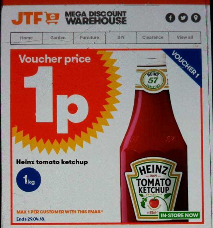 Tomato ketchup 1p @ JTF (£5 minimum spend applies)
