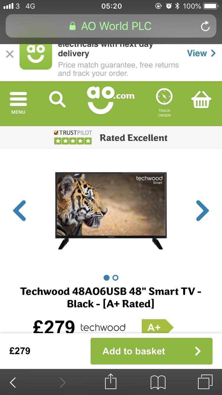 Techwood 48AO6USB 48 inch smart tv £279 at ao.com