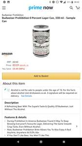 Budweiser Prohibition 0% Alcohol 330ml can - 1p on Amazon Prime Now