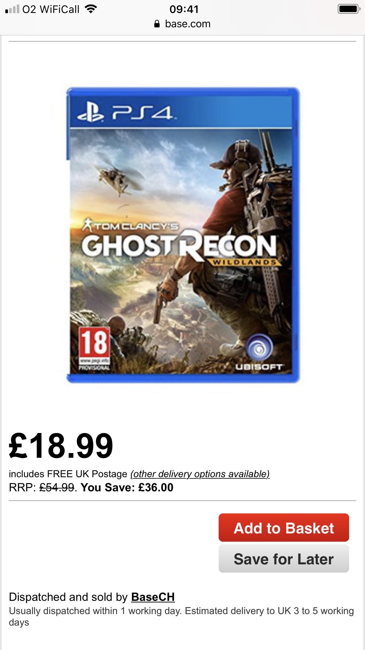 Ghost Recon Wildlands PS4 - £18.99 @ BASE