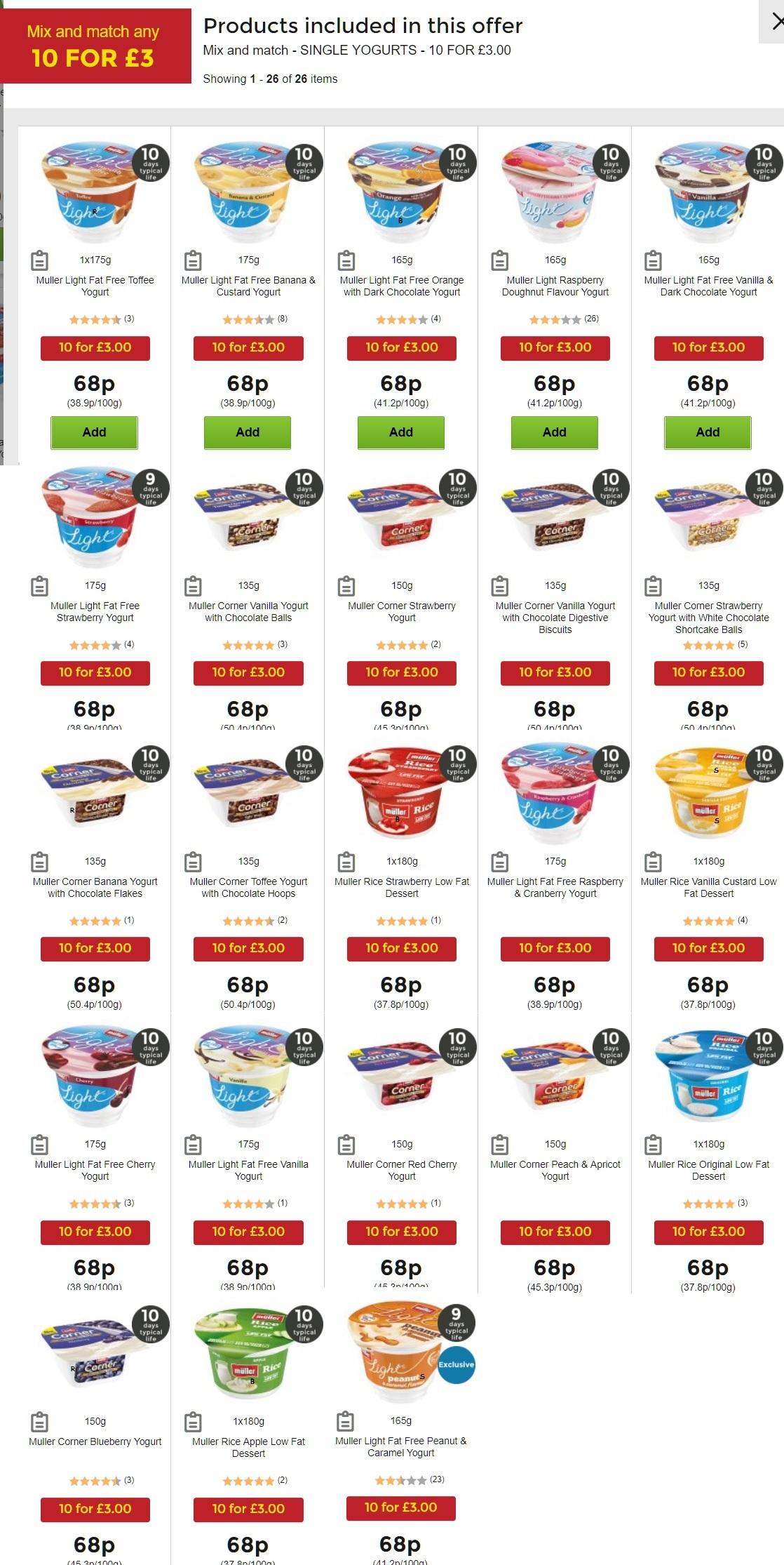 Muller Light/Rice and Corner singles Any 10 for £3 @ Asda