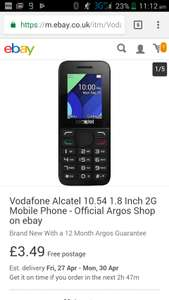 Vodafone Alcatel 10.54 1.8 Inch 2G Mobile Phone - Official Argos Shop on ebay - £3.49