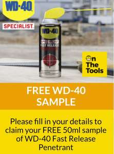 Free WD-40 fast release sample from on the tools (50ml)