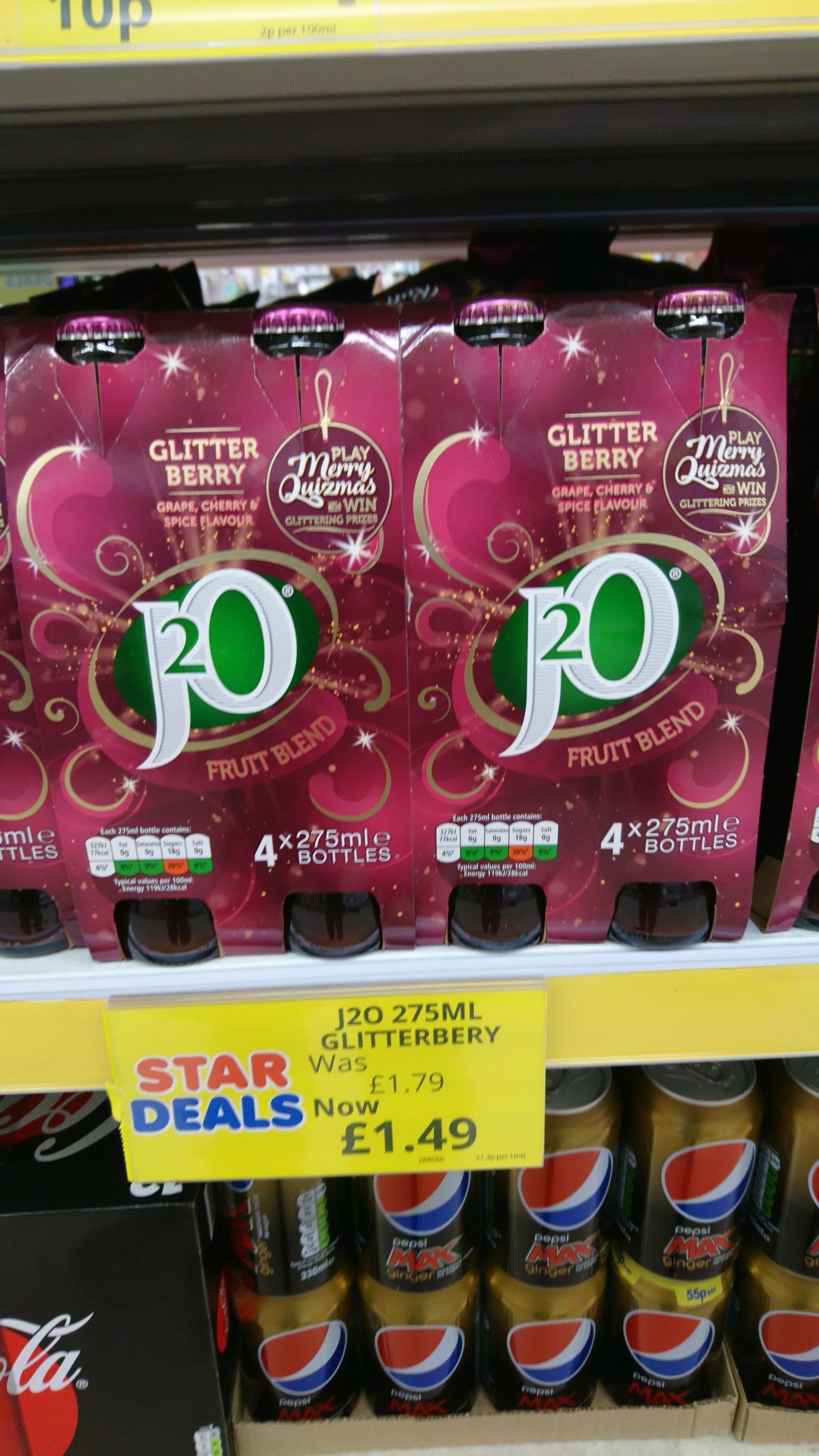 J2O glitter Berry 4pack £1.49 @ Poundstretcher