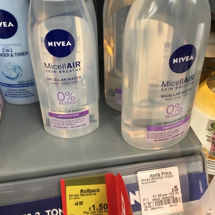 Nivea micellar water instore at asda £1.50 from £3.50