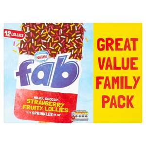 Fab Strawberry  Lollies 12 x 58ml £2.50 at Iceland