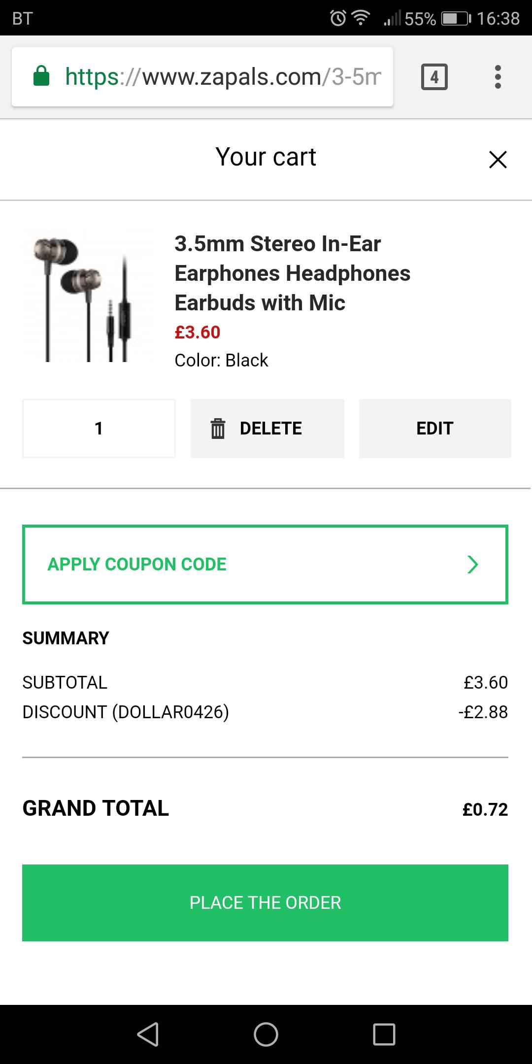 3.5mm Stereo In-Ear Earphones Headphones Earbuds with Mic 72p @ Zapals
