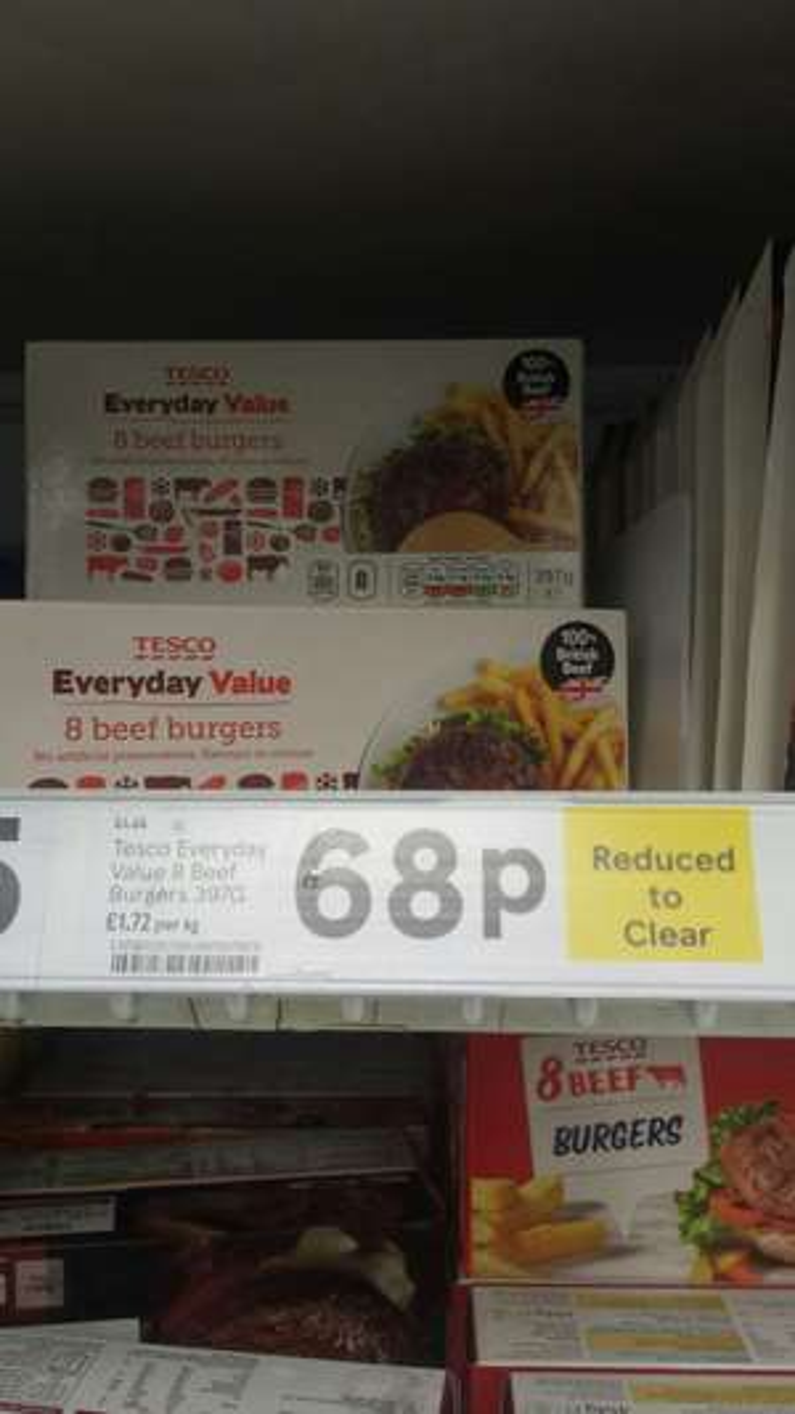 Tesco Everyday Value - 8 Beef Burgers 68p instore