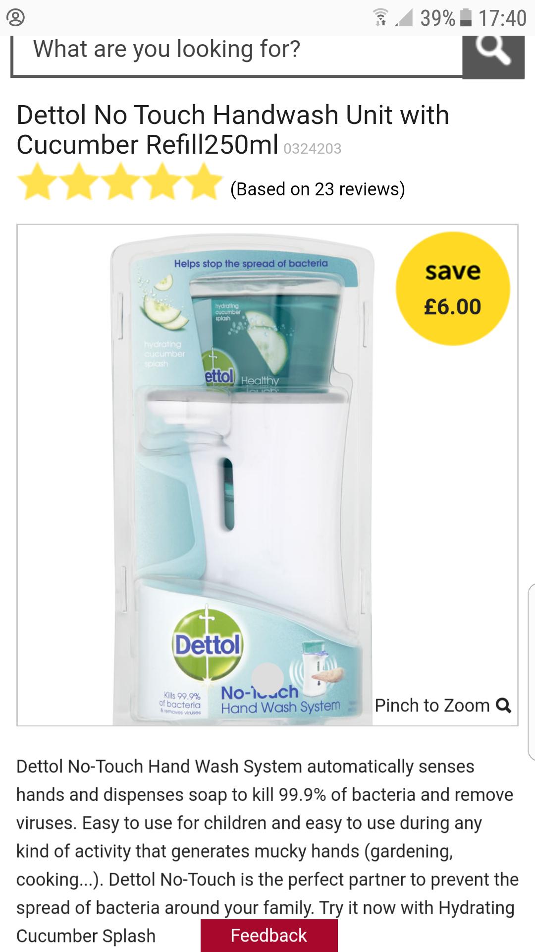 Dettol no touch handwash unit £6 (was £12). Wilko online & instore