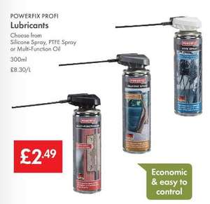 Lubricants - Silicone Spray - PTFE Spray - Multi-Function Oil - 300ml £2.49 - LIDL (Powerfix)