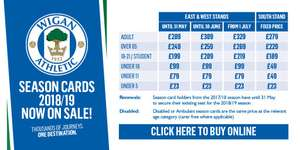 Championship Season Tickets: Wigan Athletic from £279 Adult, £49 Under 18s and £23 under 5s