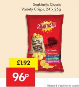 24 bags of crisps 96p @ lidl 5th+6th May