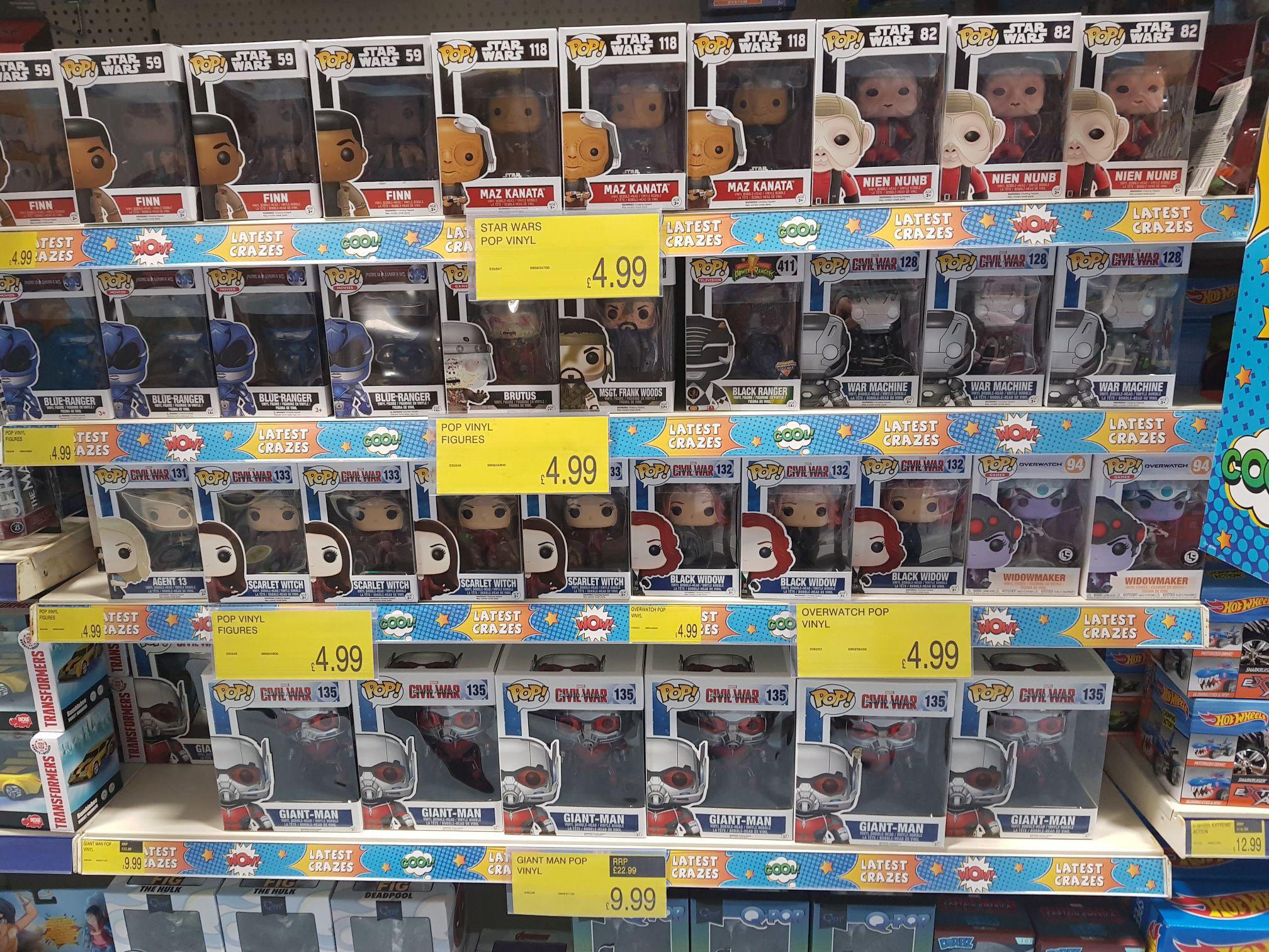 Funko Pop Vinyl Figures Marvel Star Wars others £4.99 instore @ B&M